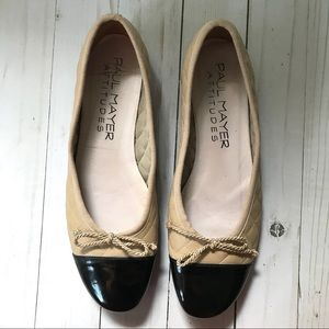 Paul Mayer Attitudes Black & Tan Ballet Flats 6.5